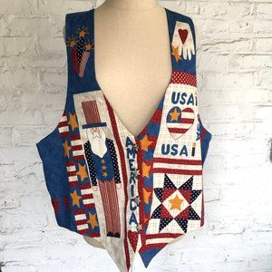 Patchwork vest America stars made in the USA quilt